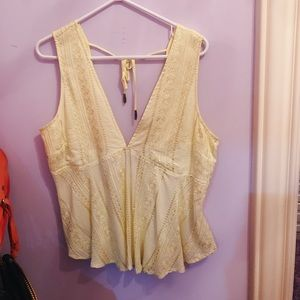 Free People Yellow V-neck Top